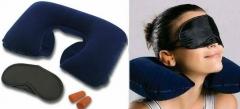 Подушка дорожная надувная, беруши, очки для сна 3в1